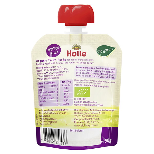 Holle Organic Baby Pouches Apple Amp Peach With Fruits Of